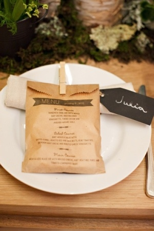 kraft menu and favor bag
